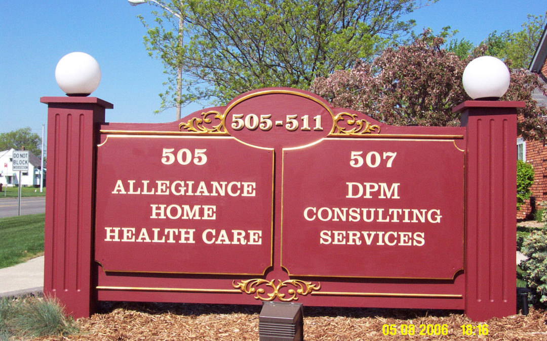 Multi Tenant Dimensionally Carved and Gold Leafed Ground Sign – Troy Michigan