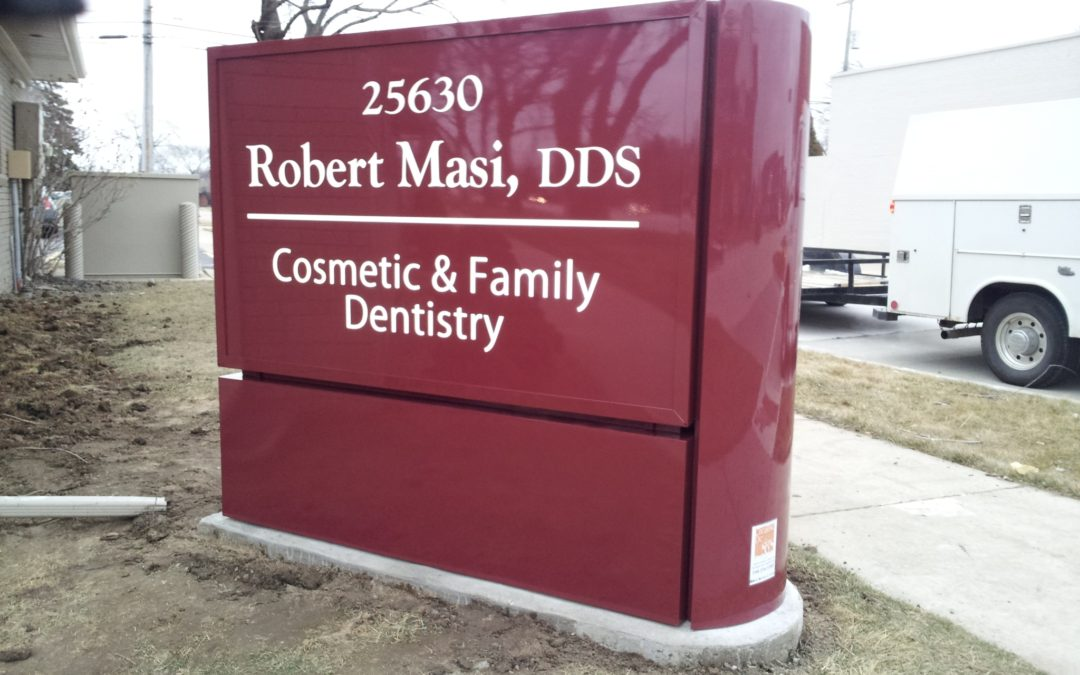 Robert Masi Dentist Painted Aluminum Acrylic Face Sign – St. Clair Shores Michigan