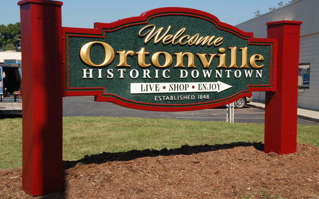 Ortonville Green Smalt Background, V carved HDU sign, gold leafed – Ortonville Michigan